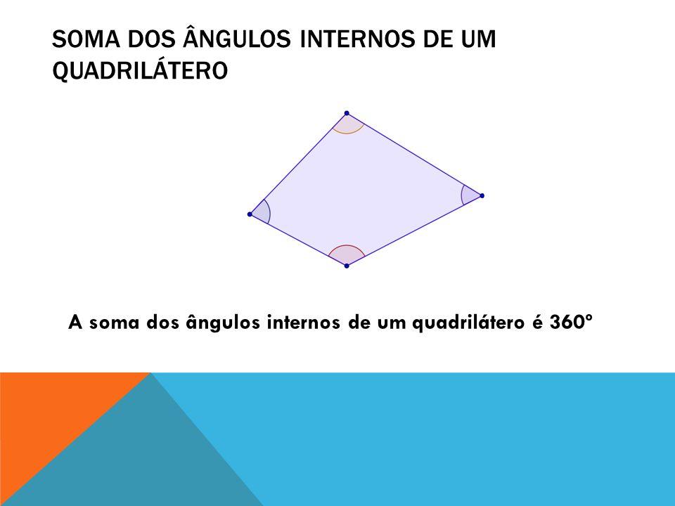 SOMA DOS ÂNGULOS INTERNOS DE UM QUADRILÁTERO A soma dos ângulos internos de um quadrilátero é 360º