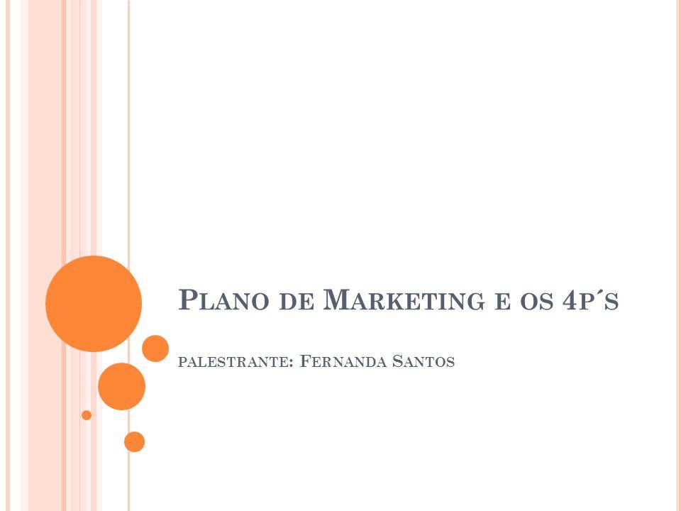 P LANO DE M ARKETING E OS 4 P ´ S PALESTRANTE : F ERNANDA S ANTOS