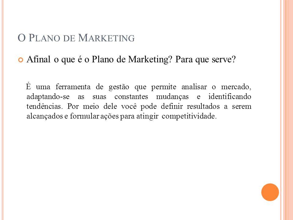 O P LANO DE M ARKETING Afinal o que é o Plano de Marketing? Para que serve? É uma ferramenta de gestão que permite analisar o mercado, adaptando-se as