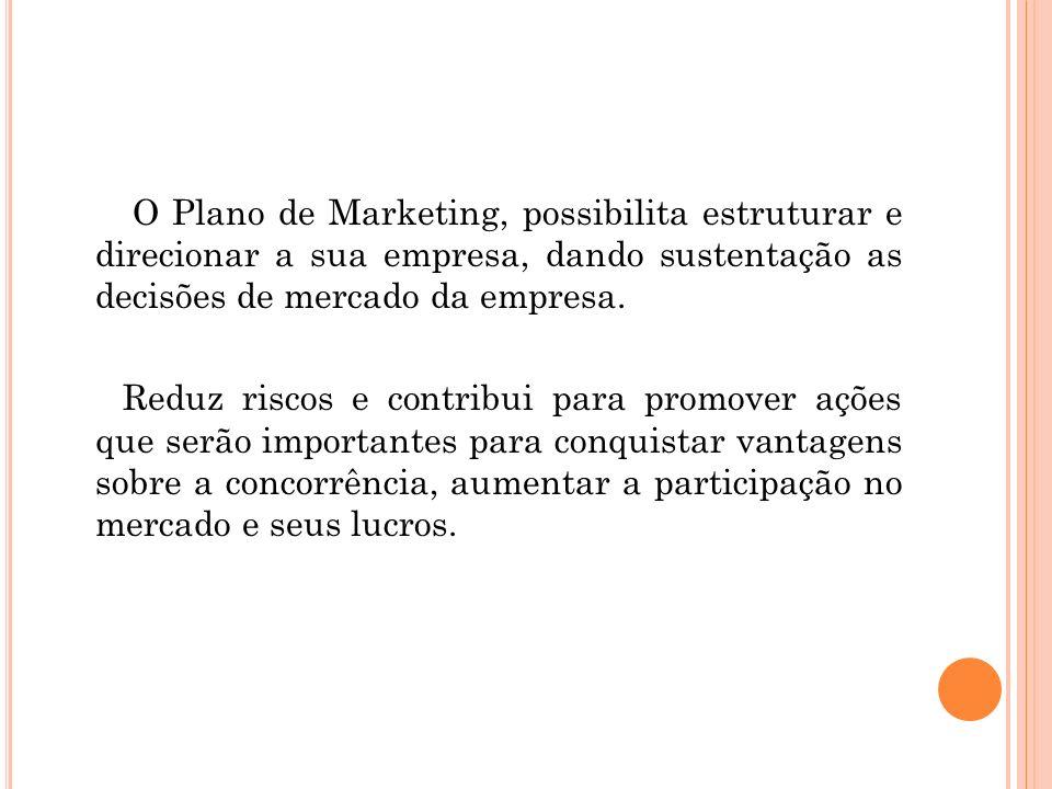 O Plano de Marketing, possibilita estruturar e direcionar a sua empresa, dando sustentação as decisões de mercado da empresa. Reduz riscos e contribui