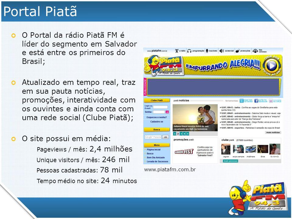 Portal Piatã O Portal da rádio Piatã FM é líder do segmento em Salvador e está entre os primeiros do Brasil; Atualizado em tempo real, traz em sua pau