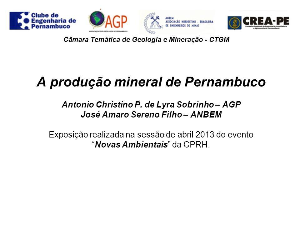 A produção mineral de Pernambuco Antonio Christino P. de Lyra Sobrinho – AGP José Amaro Sereno Filho – ANBEM Exposição realizada na sessão de abril 20
