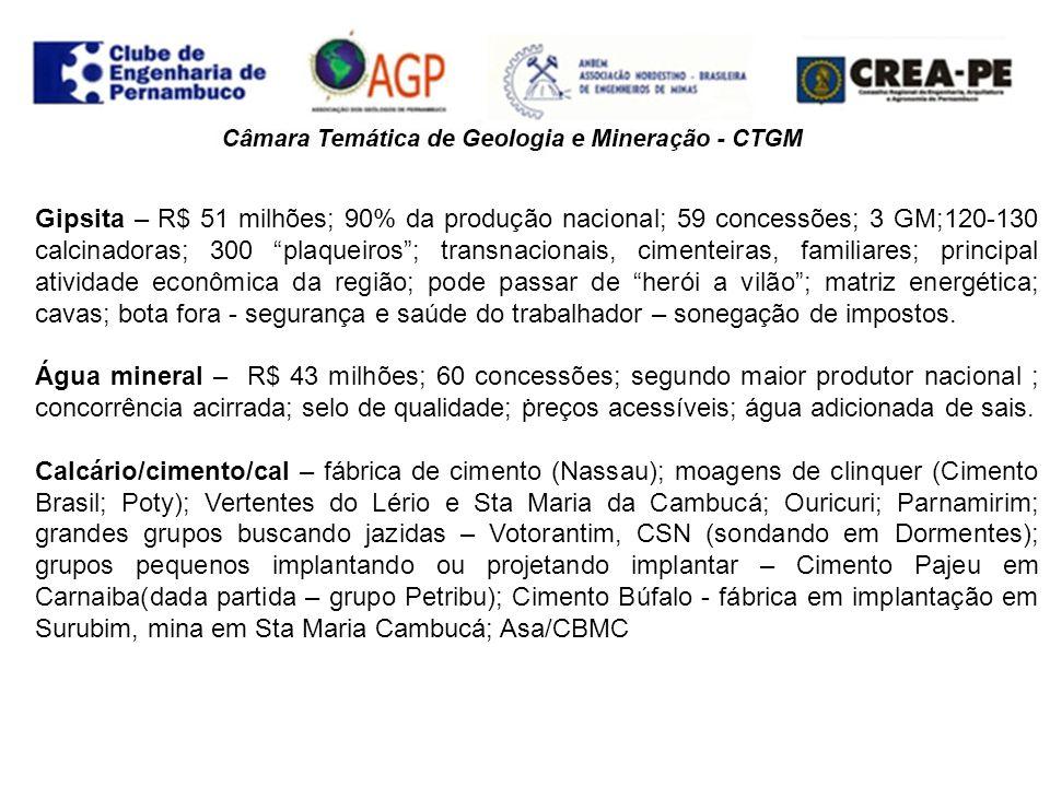 . Gipsita – R$ 51 milhões; 90% da produção nacional; 59 concessões; 3 GM;120-130 calcinadoras; 300 plaqueiros; transnacionais, cimenteiras, familiares