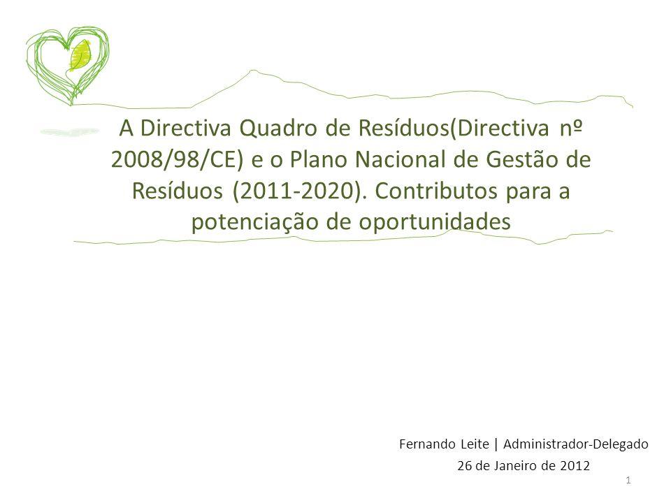 Fernando Leite | Administrador-Delegado 26 de Janeiro de 2012 A Directiva Quadro de Resíduos(Directiva nº 2008/98/CE) e o Plano Nacional de Gestão de
