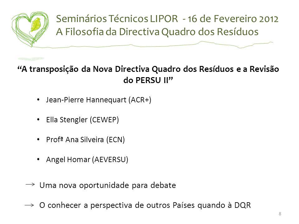 Seminários Técnicos LIPOR - 16 de Fevereiro 2012 A Filosofia da Directiva Quadro dos Resíduos A transposição da Nova Directiva Quadro dos Resíduos e a
