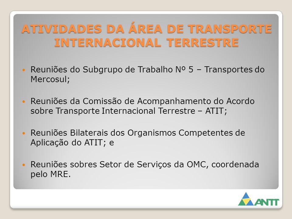 ATIVIDADES DA ÁREA DE TRANSPORTE INTERNACIONAL TERRESTRE Reuniões do Subgrupo de Trabalho Nº 5 – Transportes do Mercosul; Reuniões da Comissão de Acom