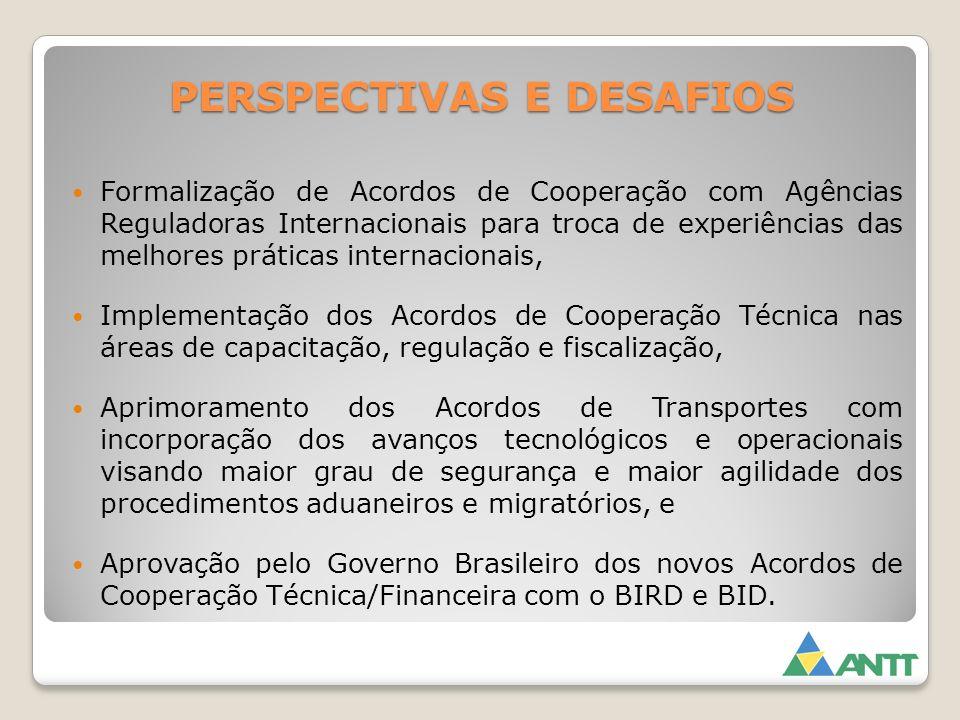 PERSPECTIVAS E DESAFIOS Formalização de Acordos de Cooperação com Agências Reguladoras Internacionais para troca de experiências das melhores práticas