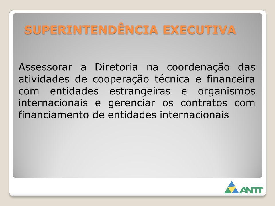 SUPERINTENDÊNCIA EXECUTIVA Assessorar a Diretoria na coordenação das atividades de cooperação técnica e financeira com entidades estrangeiras e organi