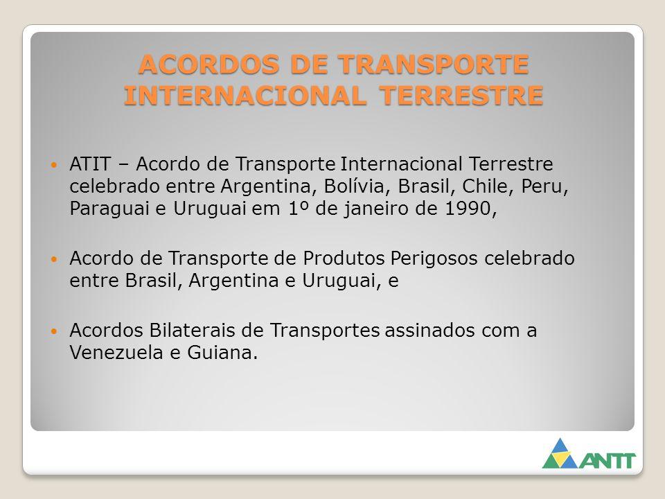 ACORDOS DE TRANSPORTE INTERNACIONAL TERRESTRE ATIT – Acordo de Transporte Internacional Terrestre celebrado entre Argentina, Bolívia, Brasil, Chile, P