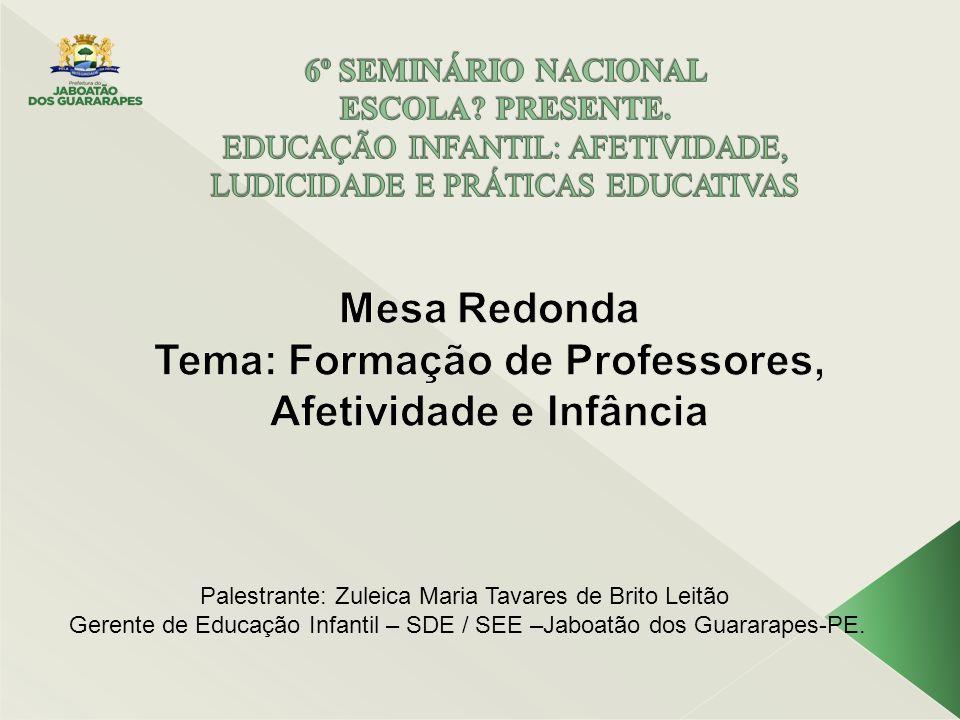 Palestrante: Zuleica Maria Tavares de Brito Leitão Gerente de Educação Infantil – SDE / SEE –Jaboatão dos Guararapes-PE.