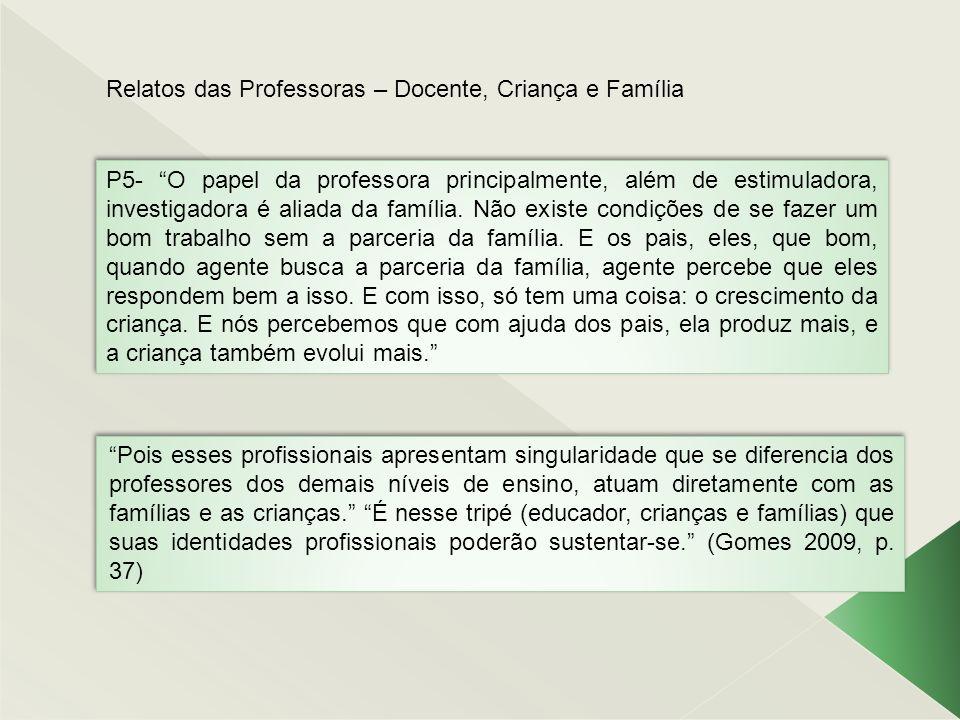 Relatos das Professoras – Docente, Criança e Família P5- O papel da professora principalmente, além de estimuladora, investigadora é aliada da família