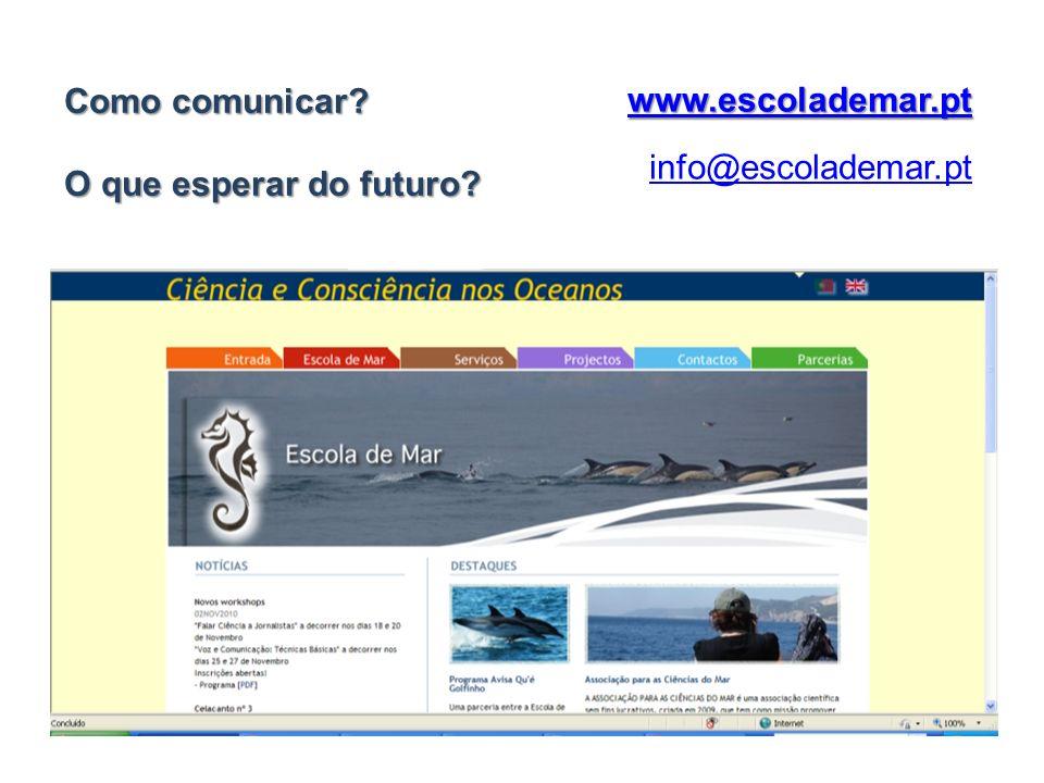 www.escolademar.pt info@escolademar.pt Como comunicar? O que esperar do futuro?