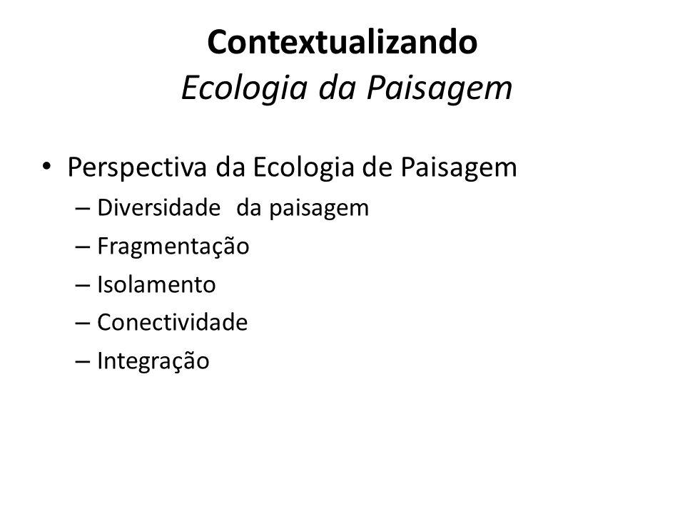 Perspectiva da Ecologia de Paisagem – Diversidade da paisagem – Fragmentação – Isolamento – Conectividade – Integração Contextualizando Ecologia da Paisagem