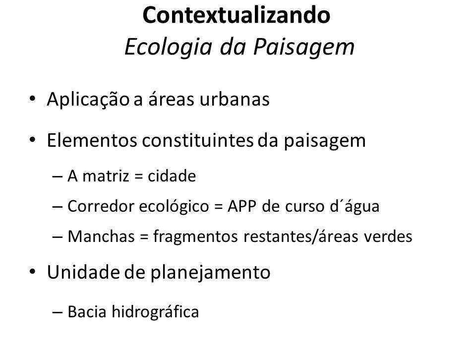 Aplicação a áreas urbanas Elementos constituintes da paisagem – A matriz = cidade – Corredor ecológico = APP de curso d´água – Manchas = fragmentos re