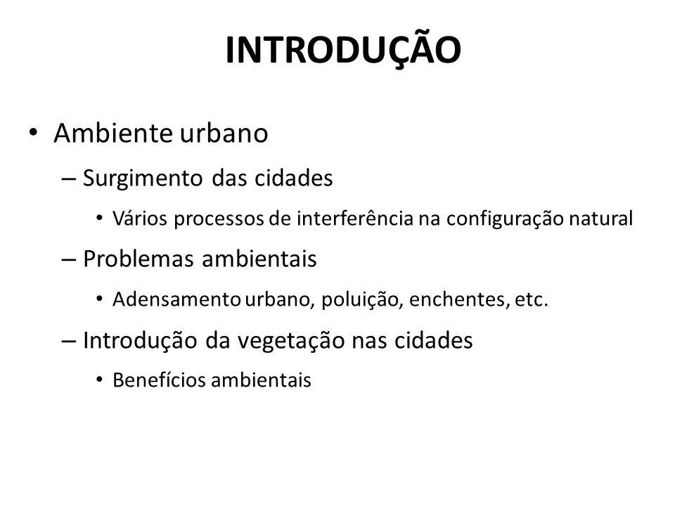 INTRODUÇÃO Ambiente urbano – Surgimento das cidades Vários processos de interferência na configuração natural – Problemas ambientais Adensamento urbano, poluição, enchentes, etc.