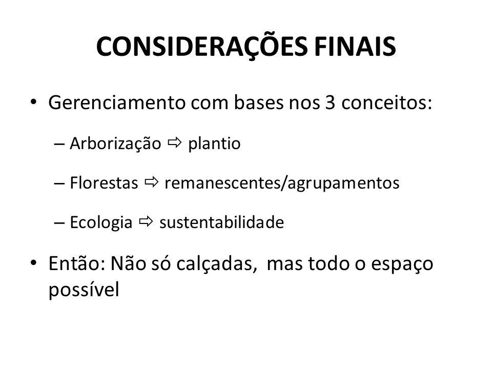 Gerenciamento com bases nos 3 conceitos: – Arborização plantio – Florestas remanescentes/agrupamentos – Ecologia sustentabilidade Então: Não só calçadas, mas todo o espaço possível CONSIDERAÇÕES FINAIS