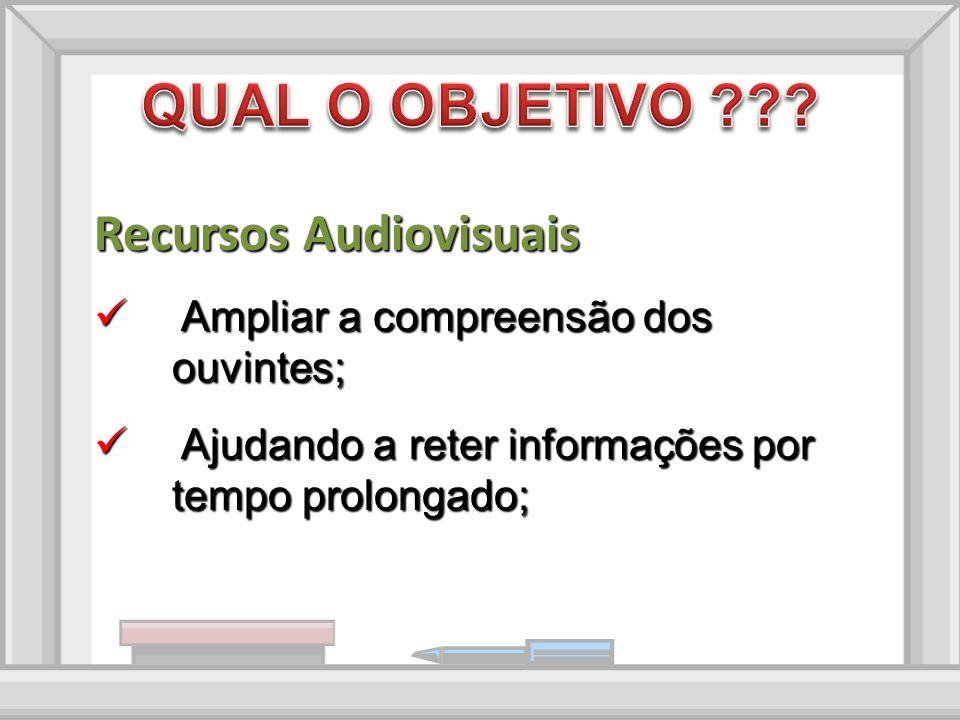 Recursos Audiovisuais Ampliar a compreensão dos ouvintes; Ampliar a compreensão dos ouvintes; Ajudando a reter informações por tempo prolongado; Ajudando a reter informações por tempo prolongado;