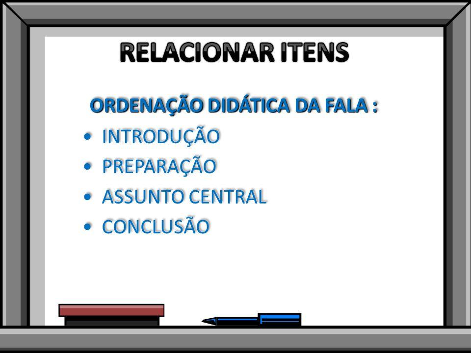 ORDENAÇÃO DIDÁTICA DA FALA : INTRODUÇÃO PREPARAÇÃO ASSUNTO CENTRAL CONCLUSÃO ORDENAÇÃO DIDÁTICA DA FALA : INTRODUÇÃO PREPARAÇÃO ASSUNTO CENTRAL CONCLUSÃO