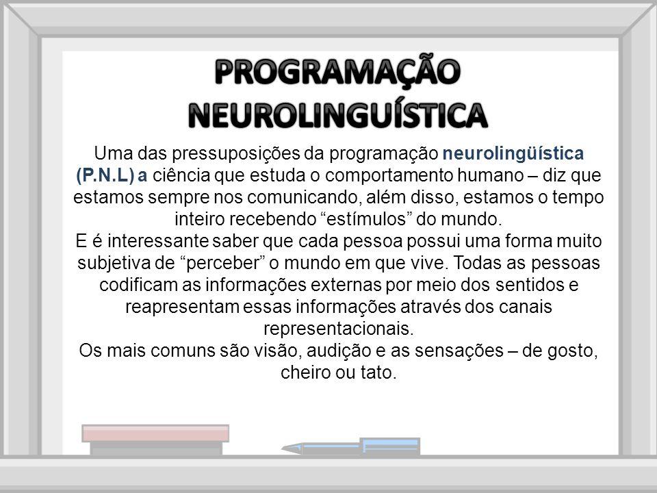 Uma das pressuposições da programação neurolingüística (P.N.L) a ciência que estuda o comportamento humano – diz que estamos sempre nos comunicando, além disso, estamos o tempo inteiro recebendo estímulos do mundo.