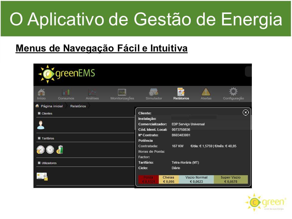 O Aplicativo de Gestão de Energia Menus de Navegação Fácil e Intuitiva