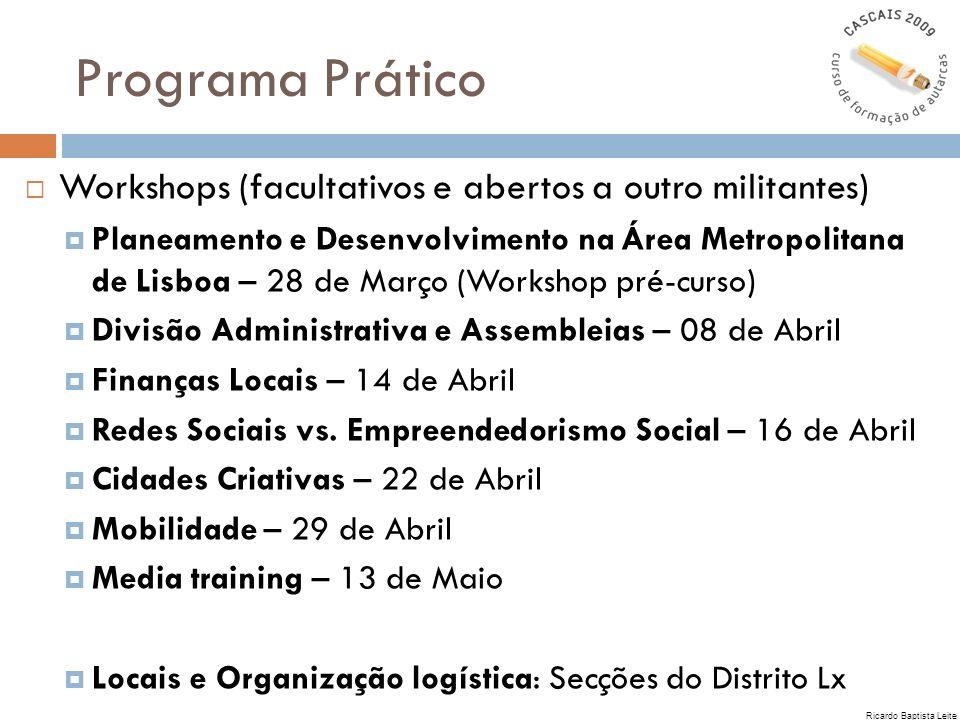 Programa Prático Workshops (facultativos e abertos a outro militantes) Planeamento e Desenvolvimento na Área Metropolitana de Lisboa – 28 de Março (Wo