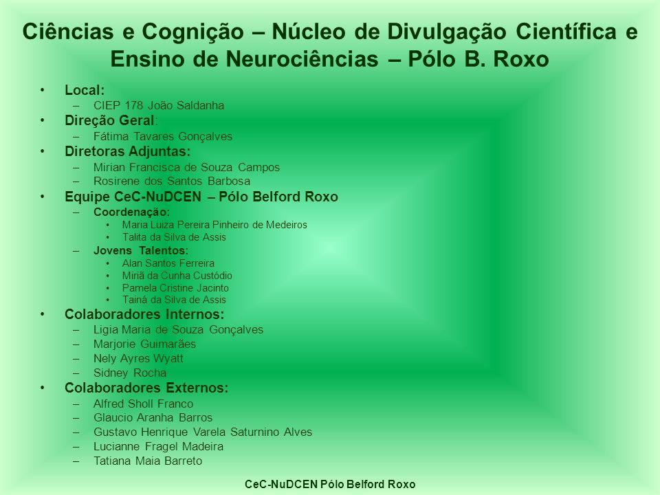 Local: –CIEP 178 João Saldanha Direção Geral: –Fátima Tavares Gonçalves Diretoras Adjuntas: –Mirian Francisca de Souza Campos –Rosirene dos Santos Bar