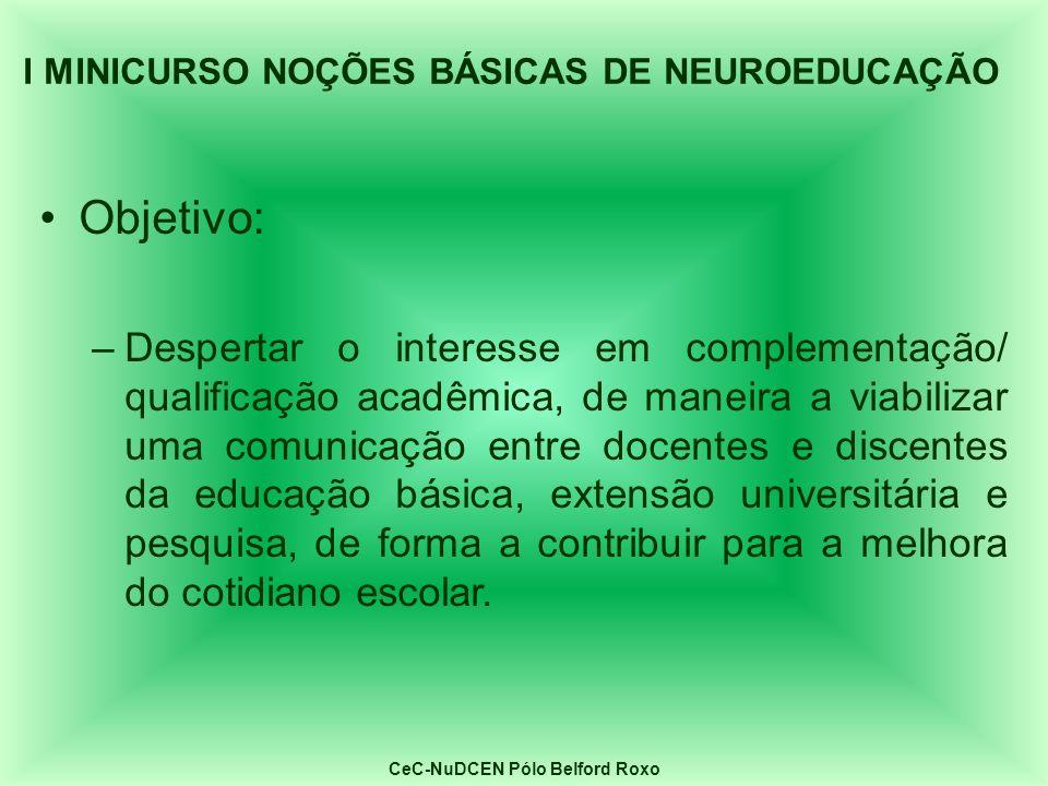 Objetivo: –Despertar o interesse em complementação/ qualificação acadêmica, de maneira a viabilizar uma comunicação entre docentes e discentes da educ