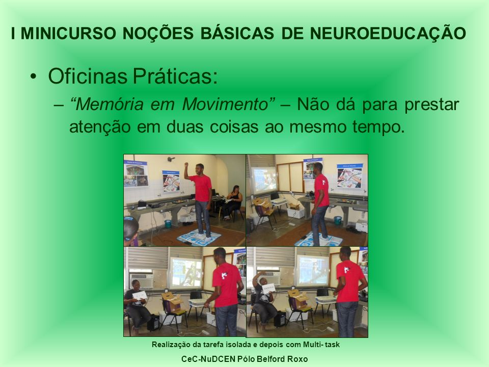 Oficinas Práticas: –Memória em Movimento – Não dá para prestar atenção em duas coisas ao mesmo tempo. I MINICURSO NOÇÕES BÁSICAS DE NEUROEDUCAÇÃO Real