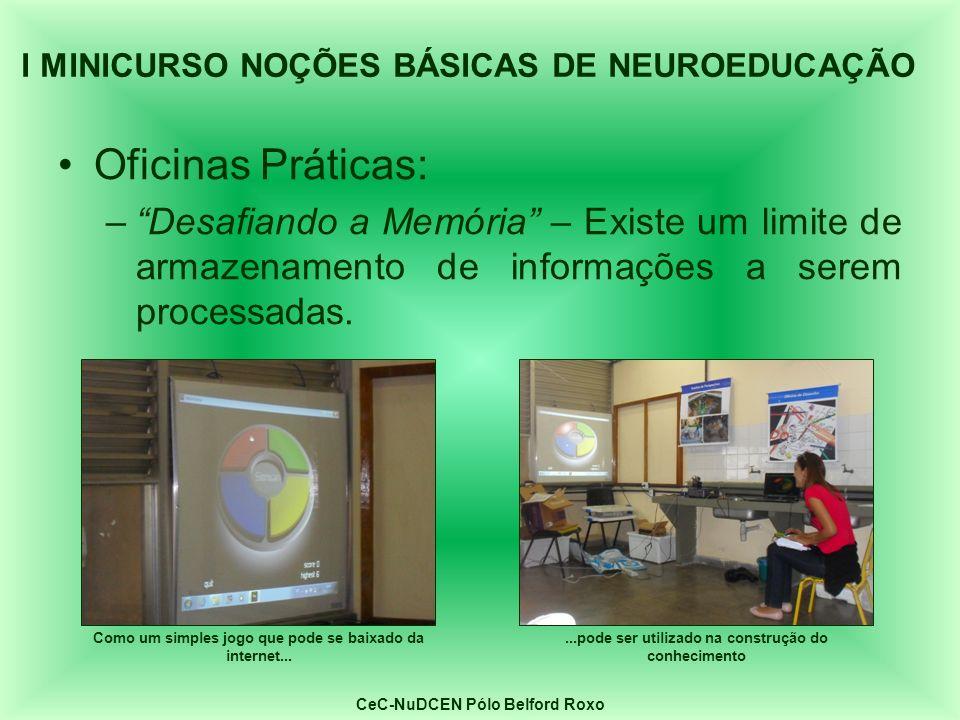 Oficinas Práticas: –Desafiando a Memória – Existe um limite de armazenamento de informações a serem processadas. I MINICURSO NOÇÕES BÁSICAS DE NEUROED