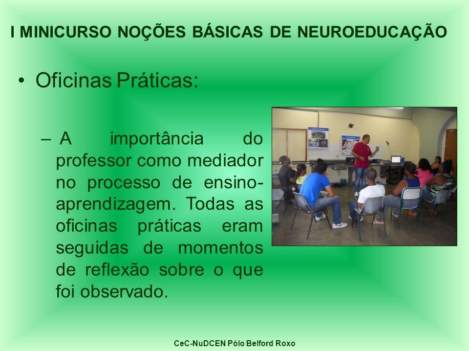 Oficinas Práticas: – A importância do professor como mediador no processo de ensino- aprendizagem. Todas as oficinas práticas eram seguidas de momento