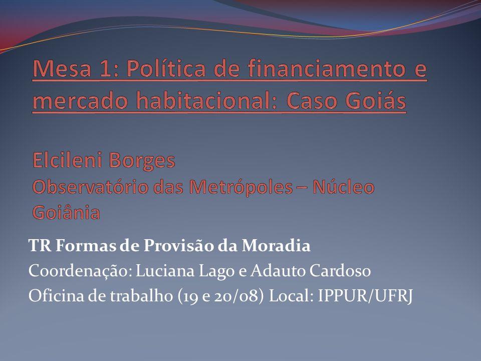 TR Formas de Provisão da Moradia Coordenação: Luciana Lago e Adauto Cardoso Oficina de trabalho (19 e 20/08) Local: IPPUR/UFRJ