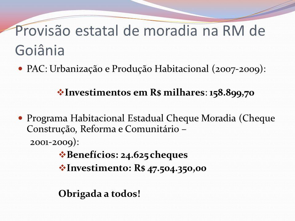 Provisão estatal de moradia na RM de Goiânia PAC: Urbanização e Produção Habitacional (2007-2009): Investimentos em R$ milhares: 158.899,70 Programa H