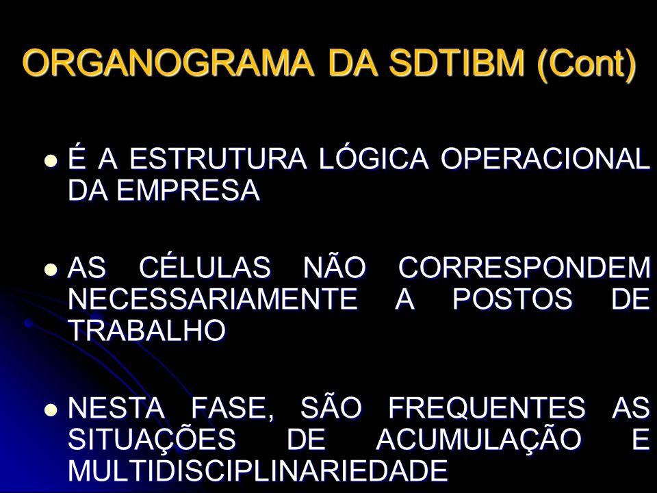 ORGANOGRAMA DA SDTIBM (Cont) É A ESTRUTURA LÓGICA OPERACIONAL DA EMPRESA É A ESTRUTURA LÓGICA OPERACIONAL DA EMPRESA AS CÉLULAS NÃO CORRESPONDEM NECES