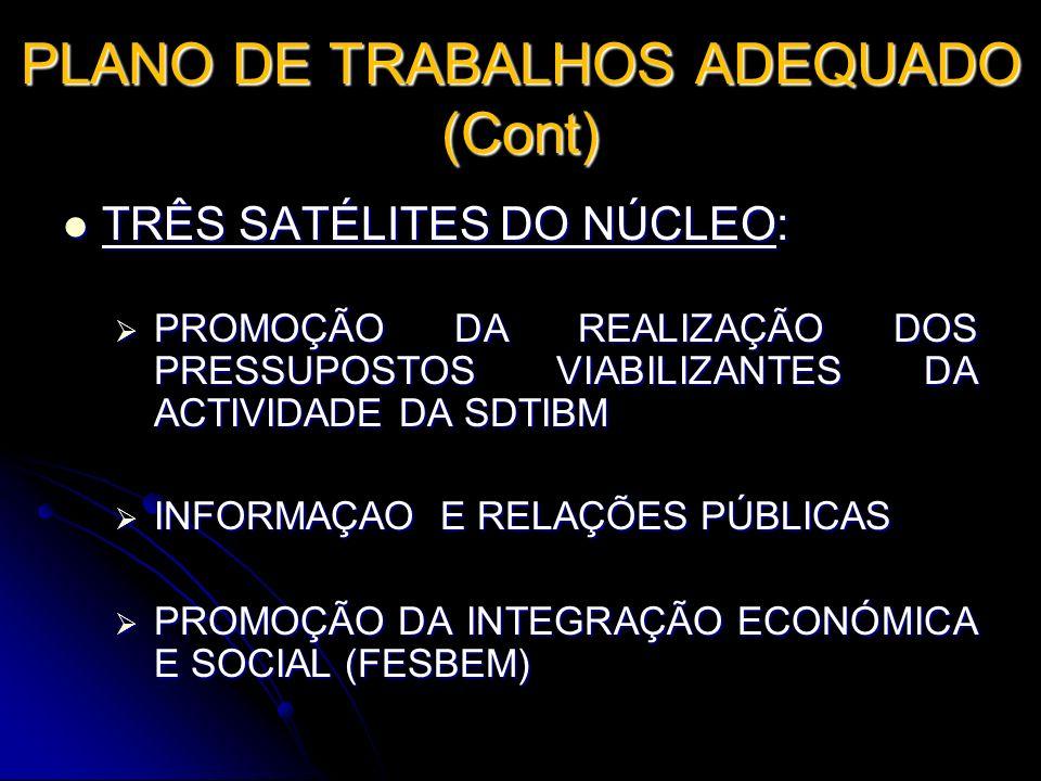 PLANO DE TRABALHOS ADEQUADO (Cont) TRÊS SATÉLITES DO NÚCLEO: TRÊS SATÉLITES DO NÚCLEO: PROMOÇÃO DA REALIZAÇÃO DOS PRESSUPOSTOS VIABILIZANTES DA ACTIVI