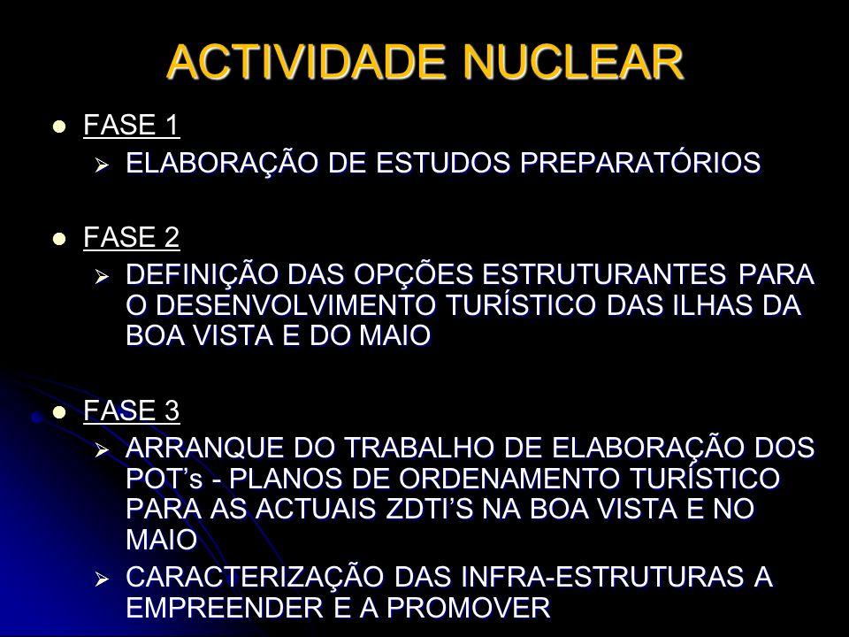 ACTIVIDADE NUCLEAR FASE 1 ELABORAÇÃO DE ESTUDOS PREPARATÓRIOS ELABORAÇÃO DE ESTUDOS PREPARATÓRIOS FASE 2 DEFINIÇÃO DAS OPÇÕES ESTRUTURANTES PARA O DES