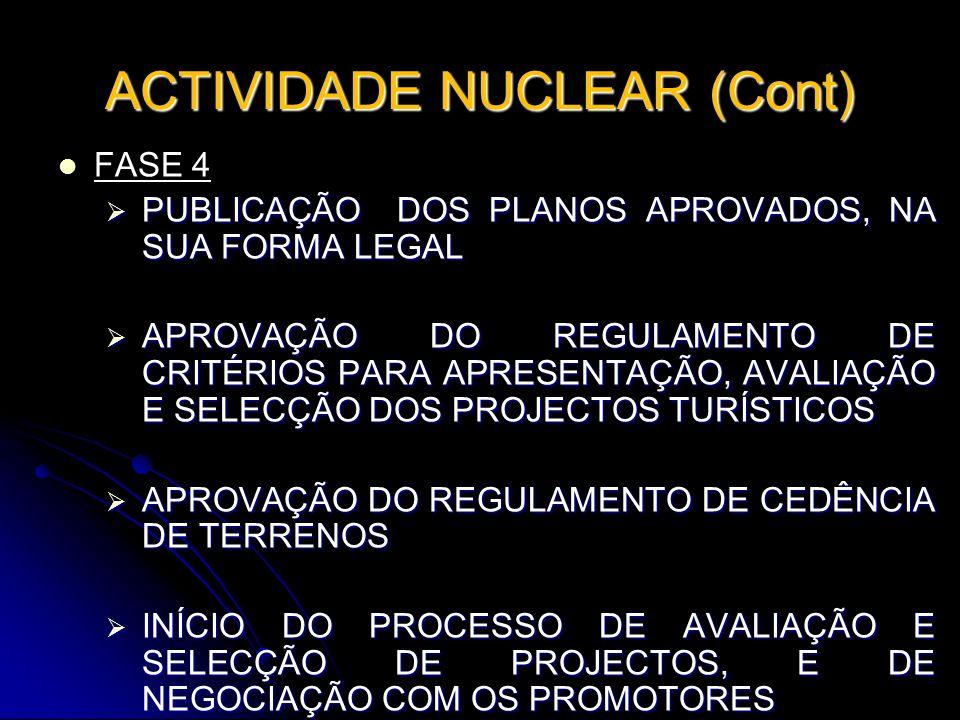 ACTIVIDADE NUCLEAR (Cont) FASE 4 PUBLICAÇÃO DOS PLANOS APROVADOS, NA SUA FORMA LEGAL PUBLICAÇÃO DOS PLANOS APROVADOS, NA SUA FORMA LEGAL APROVAÇÃO DO