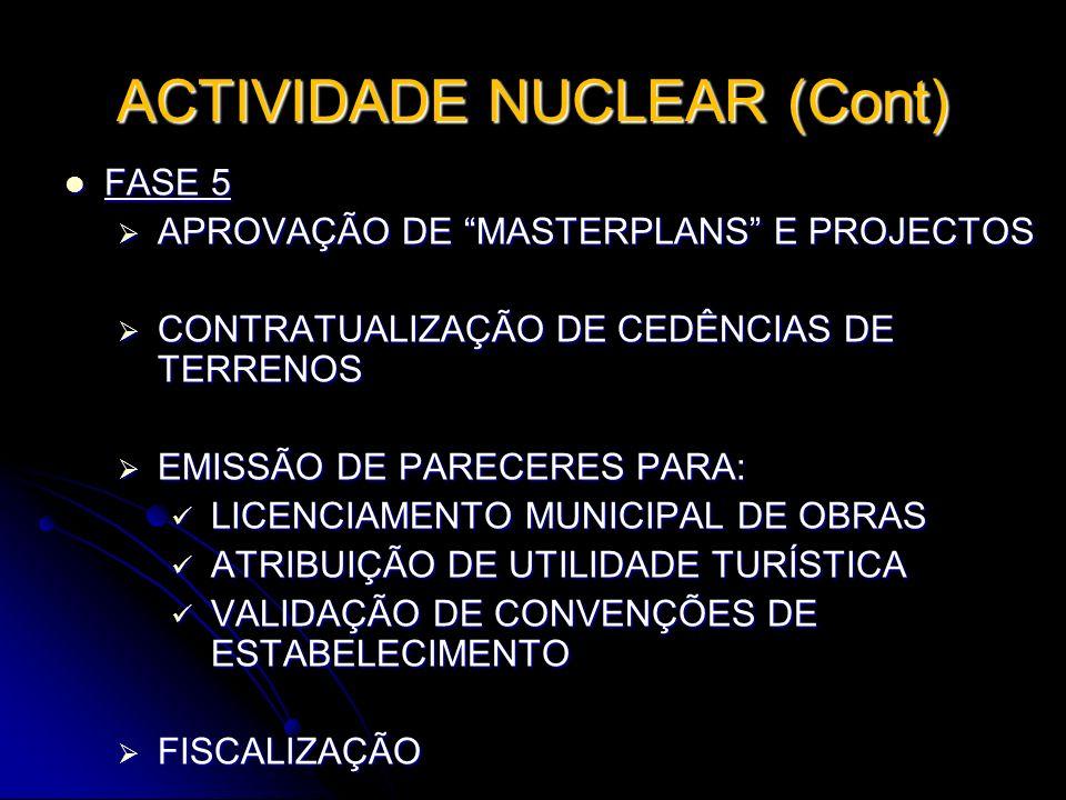 ACTIVIDADE NUCLEAR (Cont) FASE 5 FASE 5 APROVAÇÃO DE MASTERPLANS E PROJECTOS APROVAÇÃO DE MASTERPLANS E PROJECTOS CONTRATUALIZAÇÃO DE CEDÊNCIAS DE TER