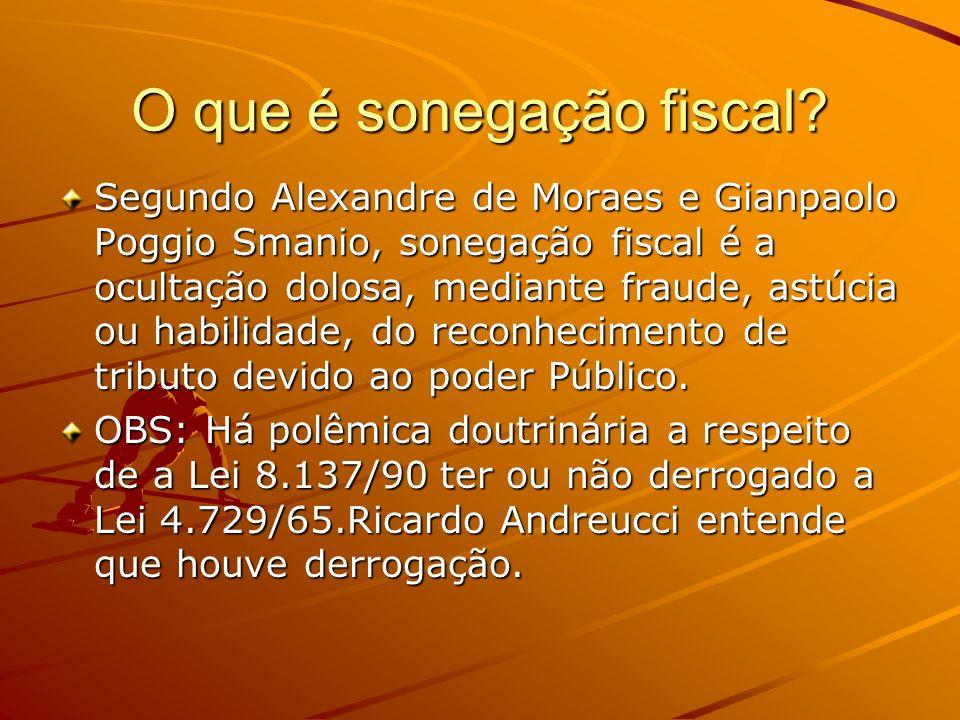O que é sonegação fiscal? Segundo Alexandre de Moraes e Gianpaolo Poggio Smanio, sonegação fiscal é a ocultação dolosa, mediante fraude, astúcia ou ha