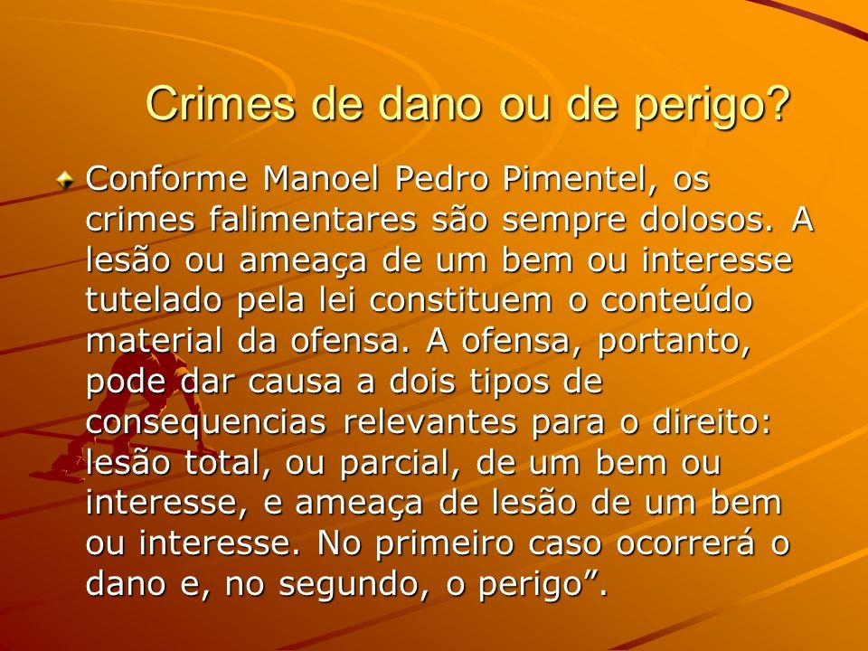 Crimes de dano ou de perigo? Crimes de dano ou de perigo? Conforme Manoel Pedro Pimentel, os crimes falimentares são sempre dolosos. A lesão ou ameaça