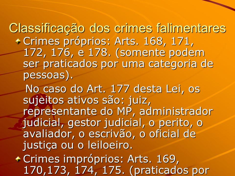 Classificação dos crimes falimentares Crimes próprios: Arts. 168, 171, 172, 176, e 178. (somente podem ser praticados por uma categoria de pessoas). N