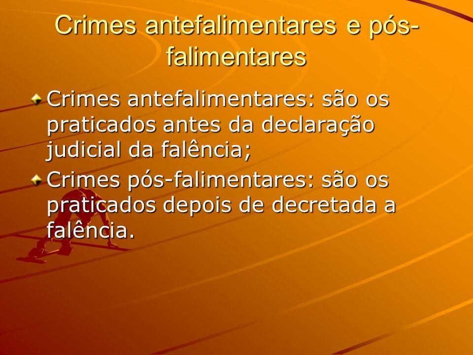 Crimes antefalimentares e pós- falimentares Crimes antefalimentares: são os praticados antes da declaração judicial da falência; Crimes pós-falimentar