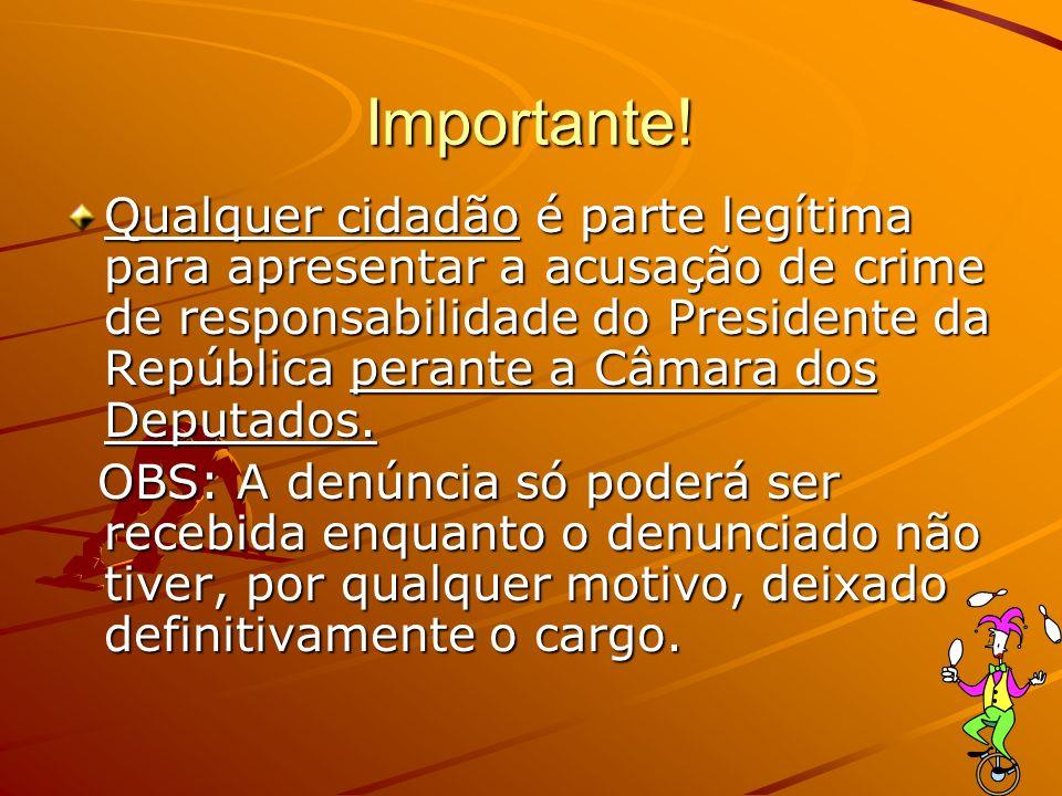Importante! Qualquer cidadão é parte legítima para apresentar a acusação de crime de responsabilidade do Presidente da República perante a Câmara dos