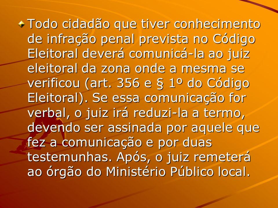 Todo cidadão que tiver conhecimento de infração penal prevista no Código Eleitoral deverá comunicá-la ao juiz eleitoral da zona onde a mesma se verifi