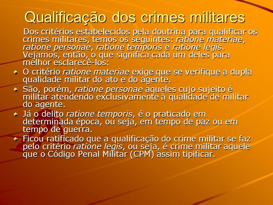 Qualificação dos crimes militares Dos critérios estabelecidos pela doutrina para qualificar os crimes militares, temos os seguintes: ratione materiae,