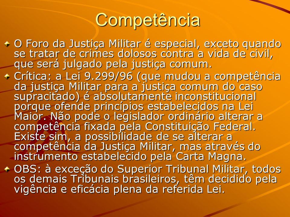 Competência O Foro da Justiça Militar é especial, exceto quando se tratar de crimes dolosos contra a vida de civil, que será julgado pela justiça comu