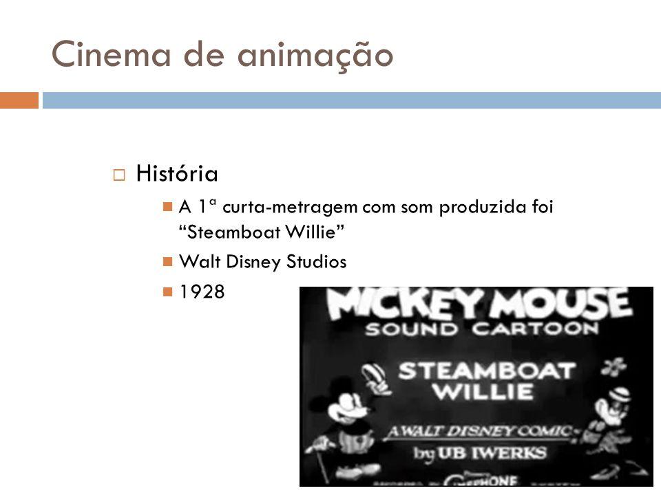Cinema de animação História A 1ª curta-metragem com som produzida foi Steamboat Willie Walt Disney Studios 1928