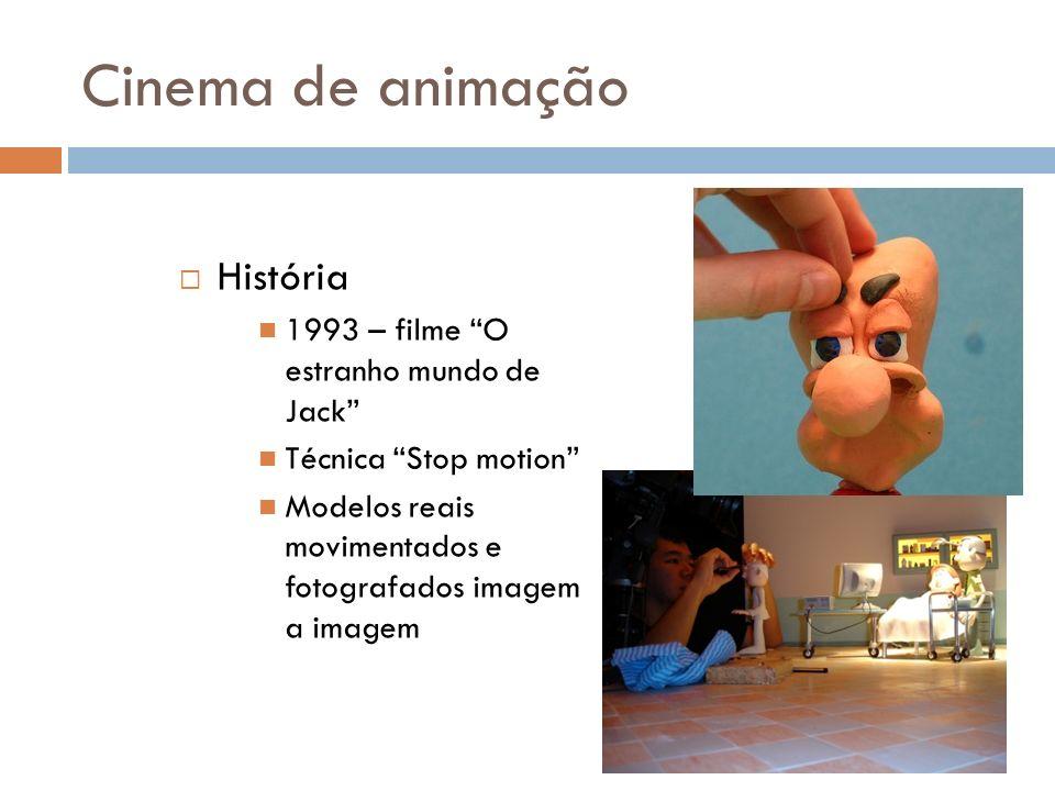 Cinema de animação História 1993 – filme O estranho mundo de Jack Técnica Stop motion Modelos reais movimentados e fotografados imagem a imagem