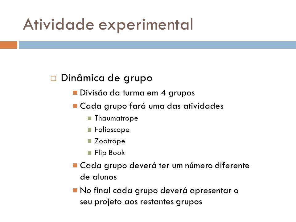 Atividade experimental Dinâmica de grupo Divisão da turma em 4 grupos Cada grupo fará uma das atividades Thaumatrope Folioscope Zootrope Flip Book Cad