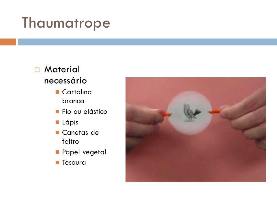 Thaumatrope Material necessário Cartolina branca Fio ou elástico Lápis Canetas de feltro Papel vegetal Tesoura