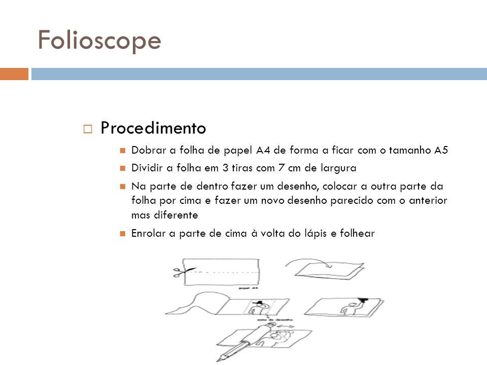 Folioscope Procedimento Dobrar a folha de papel A4 de forma a ficar com o tamanho A5 Dividir a folha em 3 tiras com 7 cm de largura Na parte de dentro